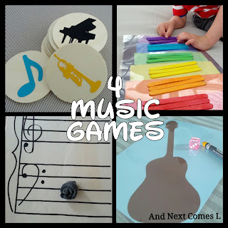 4 music games for toddlers and preschoolers from And Next Comes L