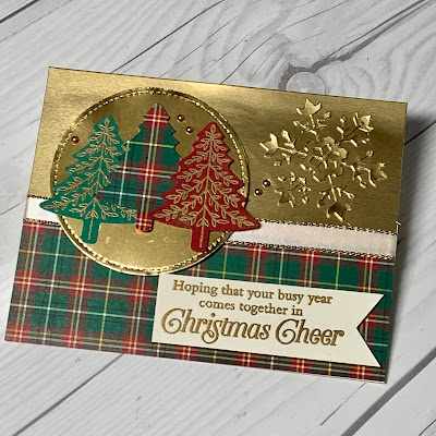 Gold Foil Christmas Card using Stampin' Up! Perfectly Plaid