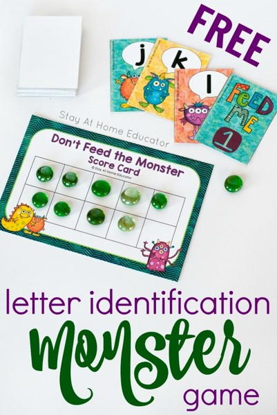 Resource from Stay at Home Educator letter identification game.
