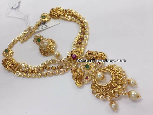Peacock Chandbali Necklace 72 Grams