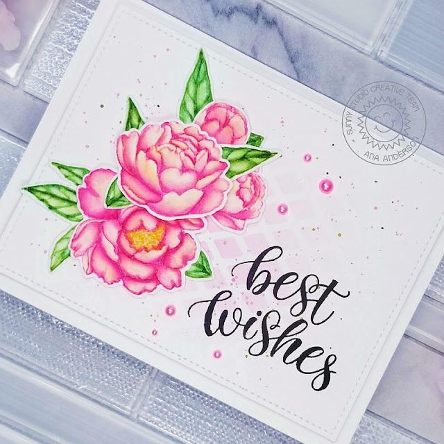 Sunny Studio Stamps: Pink Peonies Dies Frilly Frame Dies Best Wishes Card by Ana Anderson