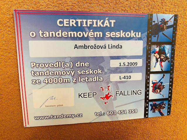 Certifikát o tandemovém seskoku
