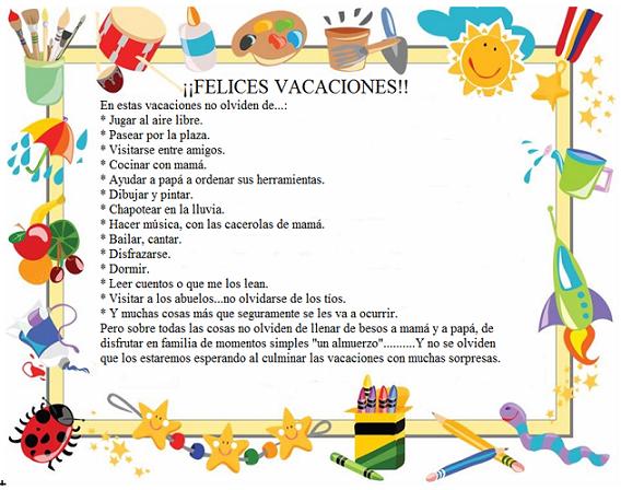 Resultado de imagen de mensajes de vacaciones de verano para niños