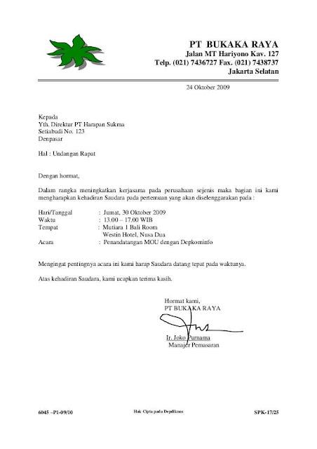 Contoh Surat Undangan Resmi Singkat (via: jojonomic.com)