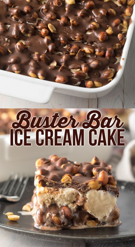 All the amazing layers of Dairy Queen Buster Bars in an easy 5-ingredient treat! Ice cream, fudge, red skinned peanuts, and chocolate coating pressed into quick-cut bars.