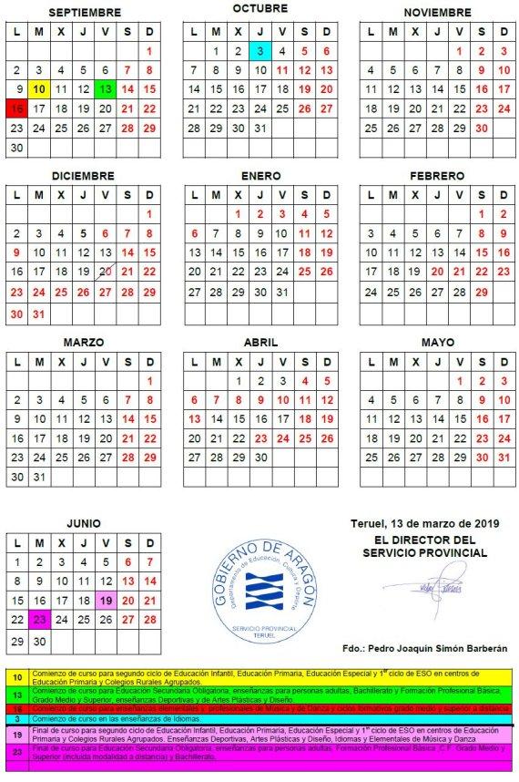 Calendario Escolar 2019 Aragon.Cra Bajo Martin