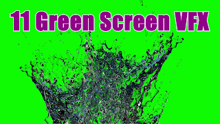 11 Free water splash effects set against a green screen background.