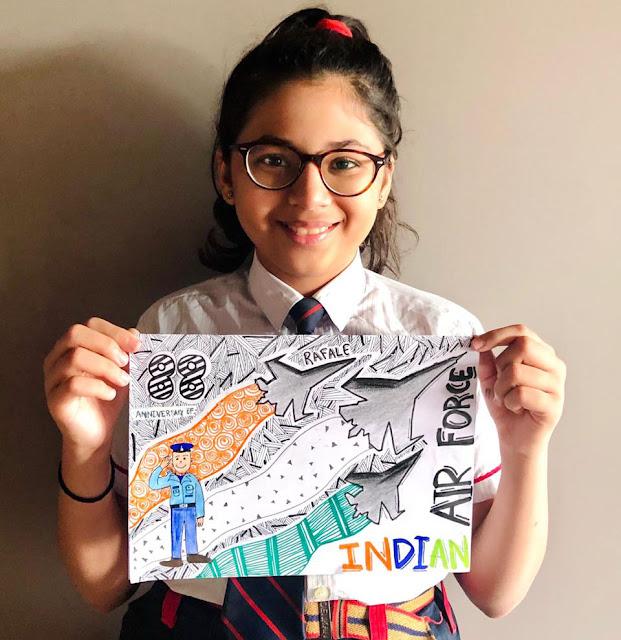 Debut of Rafale – pride of the Nation, displayed through Doodle Art by students of G.D.Goenka International School, Surat