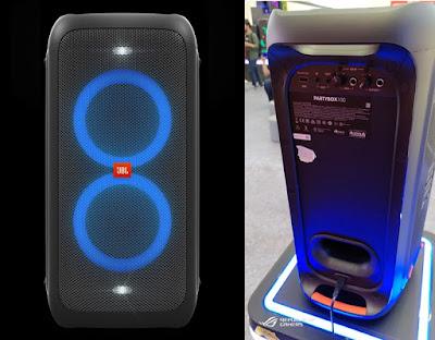 Bagian depan dan belakang JBL PartyBox 100
