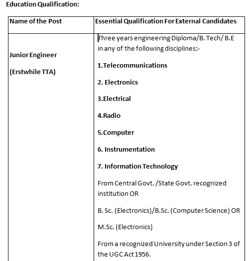 BSNL JE Education Qualification