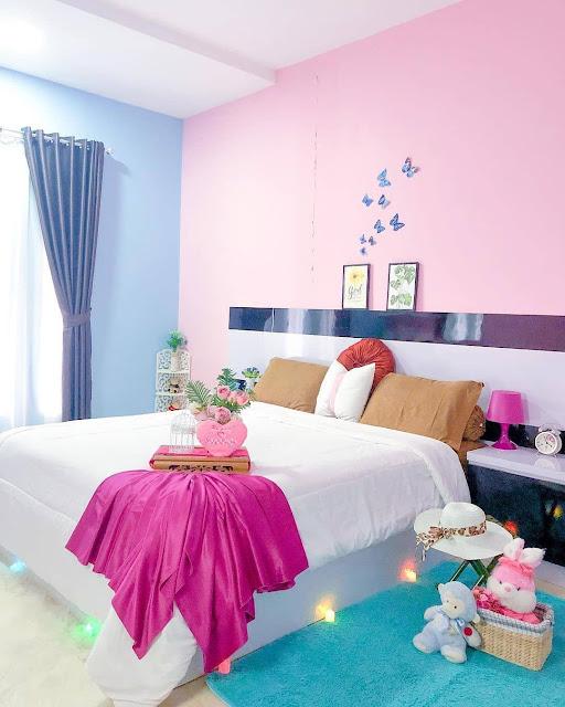 Perpaduan Warna Biru dan Pink untuk Kamar Tidur Minimalis