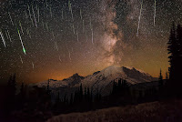 Meteors and Milky Way over Mount Rainier