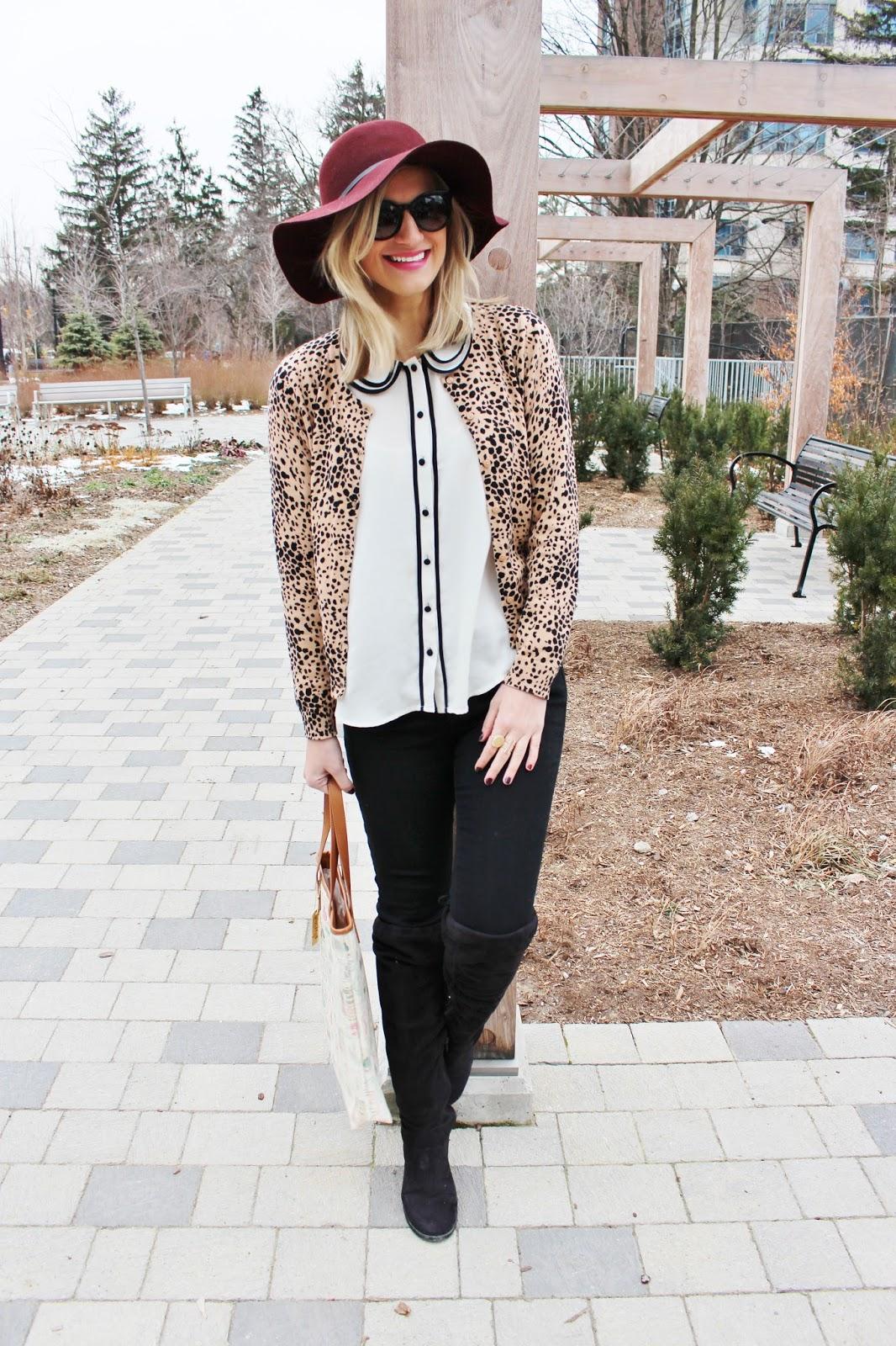 bijuleni - leopard cardi and black jeans