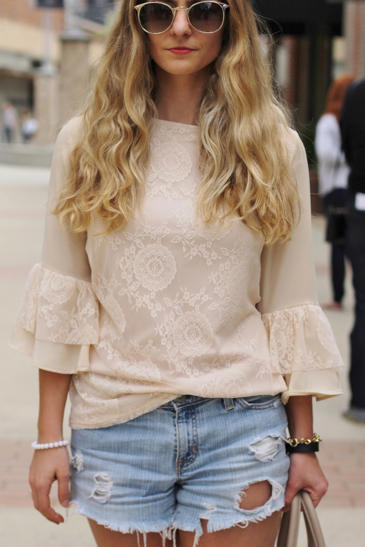 Lace shirt with jean shorts