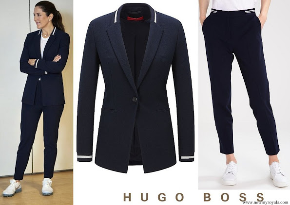 Crown Princess Mary wore Hugo Boss Agnesy Regular fit jacket and Hefena trousers