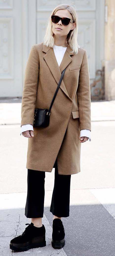 coat + bag + white shirt + black boots + pants