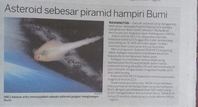 Asteroid Sebesar Piramid Menghampiri Bumi