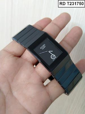 Đồng hồ nam mặt chữ nhật dây đá ceramic đen RD T231750