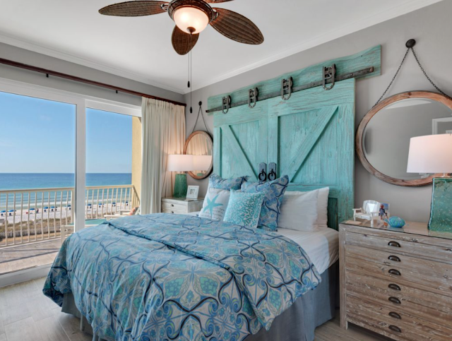 Luxury-Beach-Decor-Bedroom-Barndoor Headboard-Miramar Beach-Florida-Sundays by the Shore-From My Front Porch To Yours