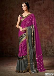 Stunning Cotton Blend Solid Regular Sarees