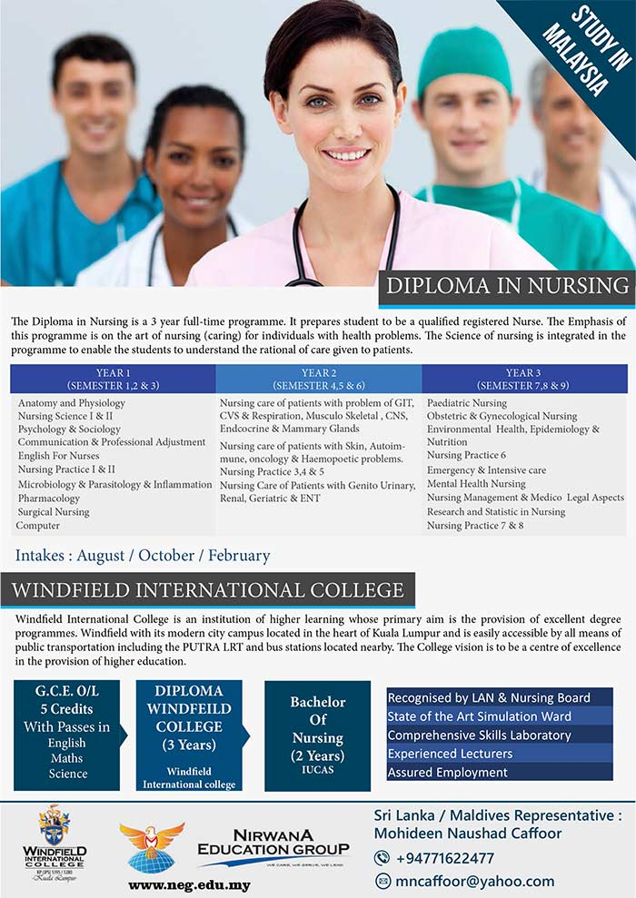 The Diploma in Nursing is a 3 year full-time programme. It prepares student to be a qualified registered Nurse. The Emphasis of this programme is on the art of nursing (caring) for individuals with health problems. The Science of nursing is integrated in the programme to enable the students to understand the rational of care given to patients.