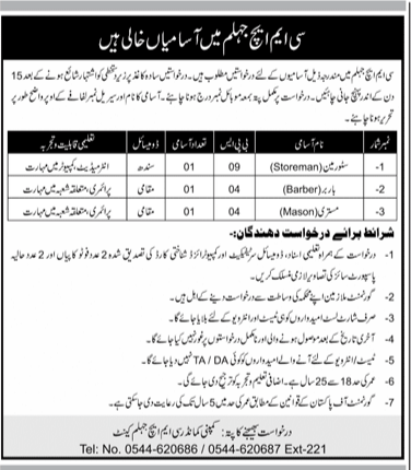 Combined Military Hospital CMH  Pakistan Army, Government of Pakistan Jobs 2021