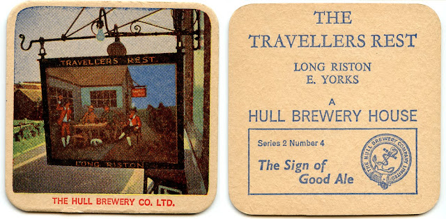 Beer Mat - the Travellers Rest, Long Riston, Hull Brewery 1970s