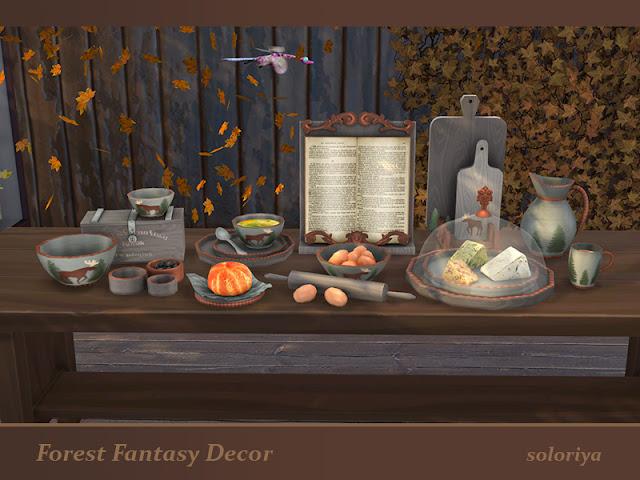 Forest Fantasy Decor set Лесная фантазия набор декора для The Sims 4 Лесная фантазия Декор набор. Имеет 3 цветовых вариации. Все объекты можно найти в категории Декоративные - Беспорядок. В набор входят 10 декоративных предметов: - книга - булочка - миски с ящиком - сыр - чашка - разделочные доски - яйца с миской и скалкой - кувшин - небольшие миски с оливками - суп и тарелки. Автор: soloriya
