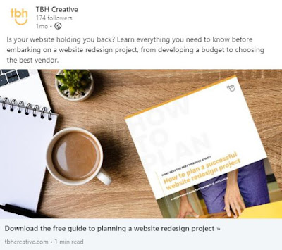 Example of one of TBH Creative's social media offers for a downloadable guide