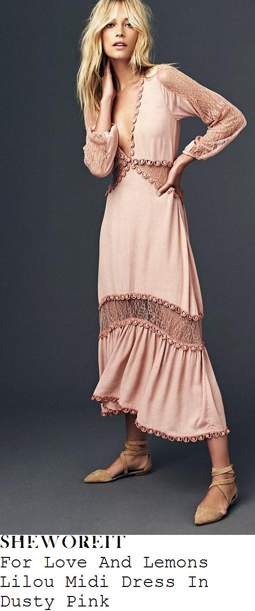 helen-flanagan-for-love-and-lemons-lilou-dusty-rose-pink-sheer-filigree-lace-panel-detail-long-sleeve-plunge-front-crochet-trim-midi-dress
