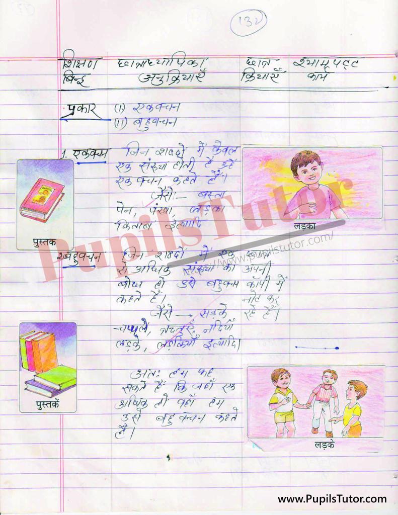 Vachan Aur Vachan Ke vibhinn Bhed Evam Prakar par Lesson Plan in Hindi for BEd and DELED