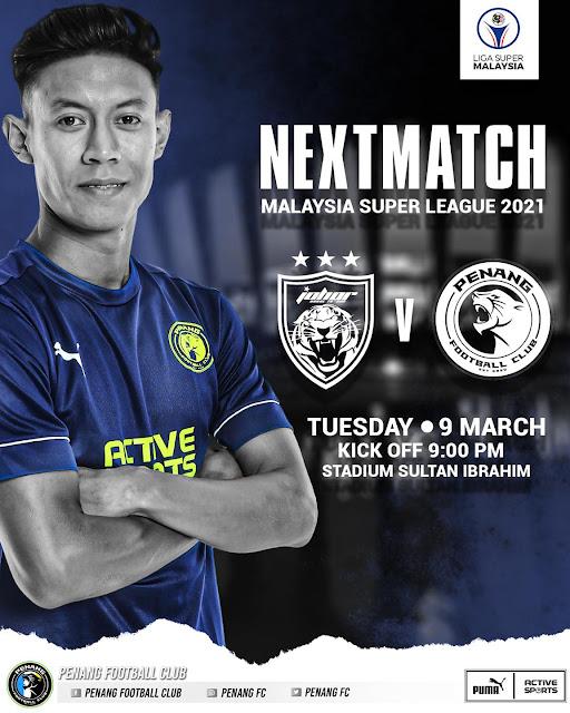 Live Streaming JDT vs Penang Liga Super 9.3.2021