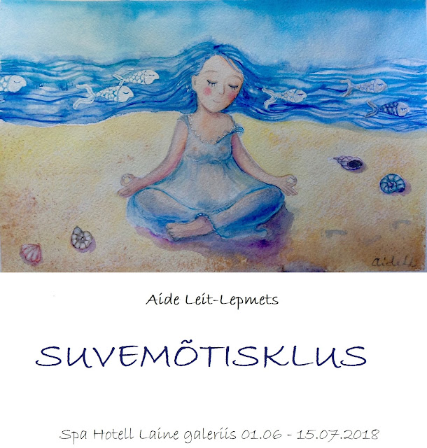 Exhibition #summer meditation shells girl blue #watercolor aquarelle beatch #fish art #illustration