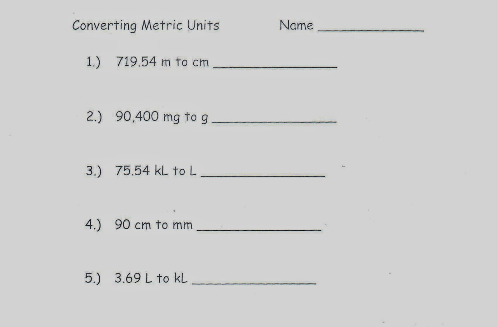 Mrs White S 6th Grade Math Blog Converting Metric Units 5 Questions