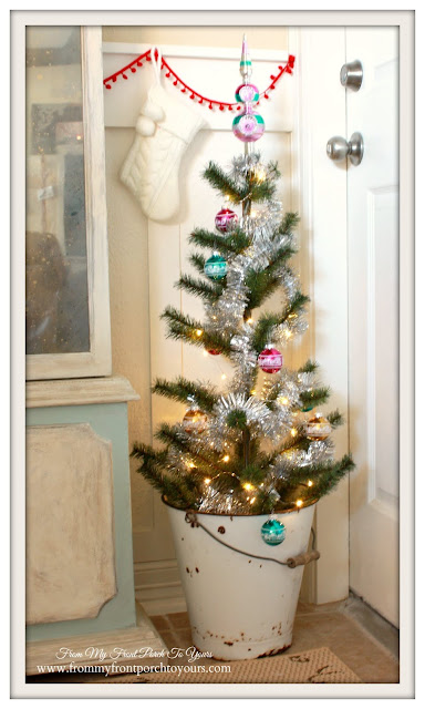 Wire Brush Christmas Tree-Vintage Enamel Pail-Farmhouse Christmas Kitchen-From My Front Porch To Yours