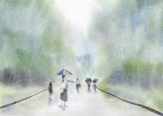 雨の公園 人物を描き入れる