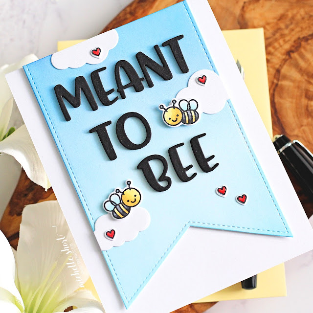 Sunny Studio Stamps: Slimline Pennant Dies Chloe Alphabet Dies Just Bee-cause Card by Michelle Short
