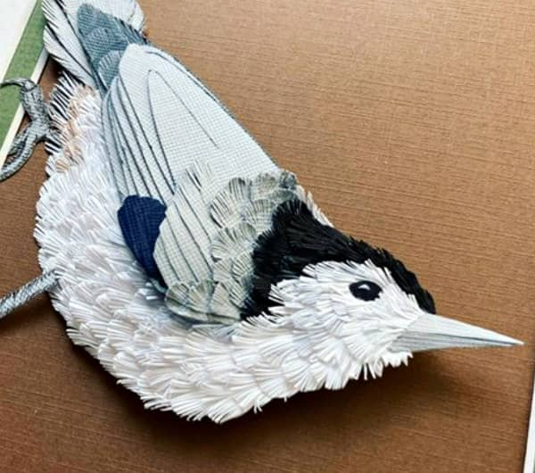 fringed paper art nuthatch bird