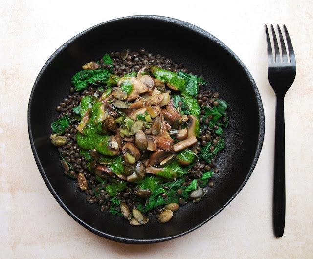 Lentilles aux épinards et champignons