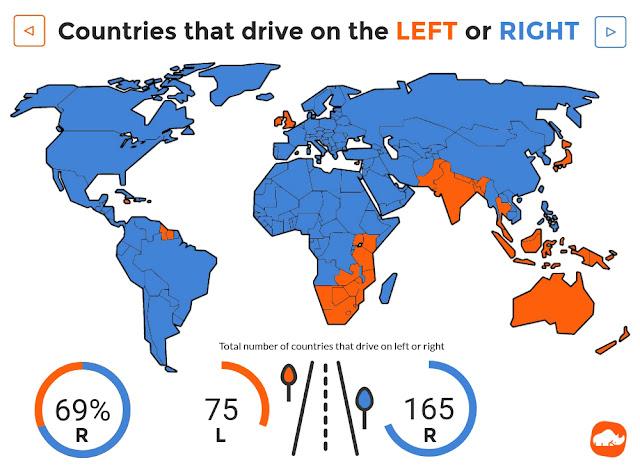 خريطة البلدان التي يقود سكانها السيارة على اليسار