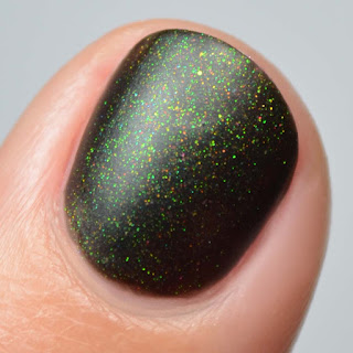 black matte nail polish with color shifting shimmer