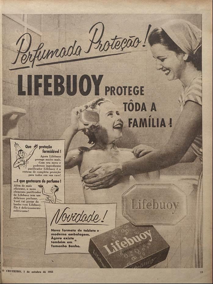 Propaganda antiga do Sabonete Lifebuoy veiculada nas revistas brasileiras em 1955