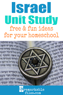 This Israel unit study is packed with activities, crafts, book lists, and recipes for kids of all ages! Make learning about Israel and Jerusalem in your homeschool even more fun with these free ideas and resources. #Israel #jerusalem #hebrew #homeschool