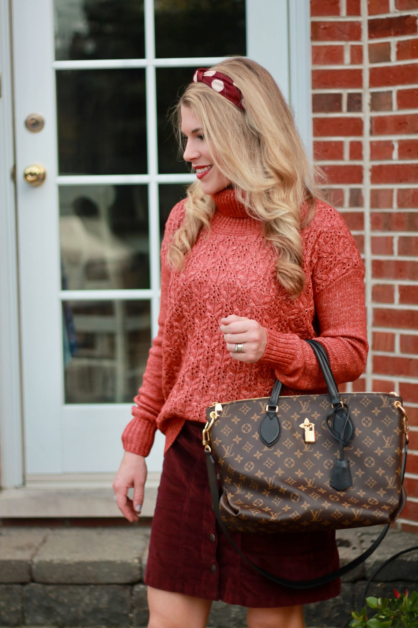 fall skirt outfit, aventura fall clothing, aventura review, burgundy corduroy skirt, burnt orange sweater, cognac boots