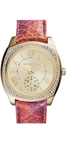 Michael Kors 'Bryn' Crystal Bezel Leather Strap Watch