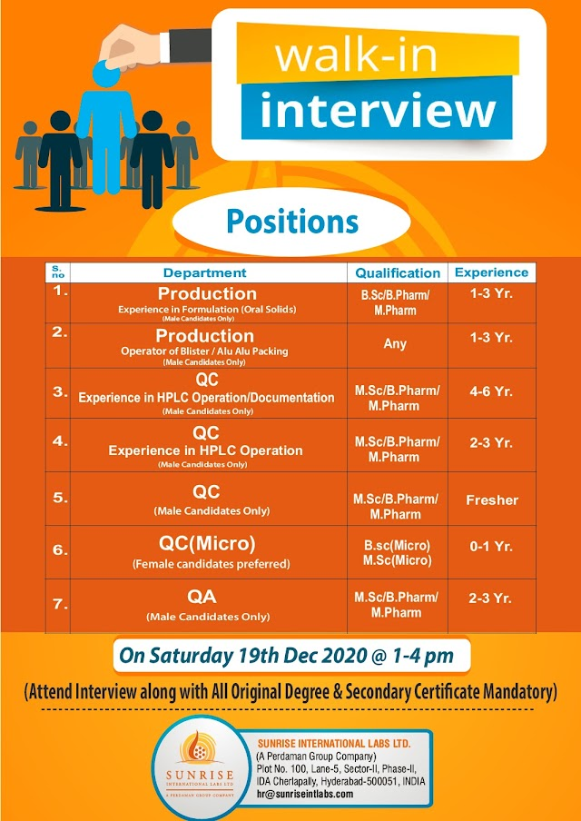 Sun Rise Labs | Walk-in interview for Production/Qc/QA on 19th Dec 2020