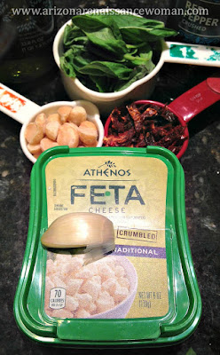 Basil, Sun-Dried Tomato, Feta, and Macadamia Nut Pesto Ingredients