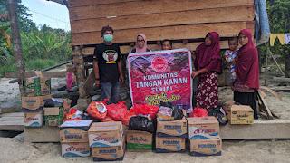 Karang Taruna Bersama Komunitas Tangan Kanan,Komunitas Genre Sinjai Kembali Bagikan Sembako Tahap III di Sabbang