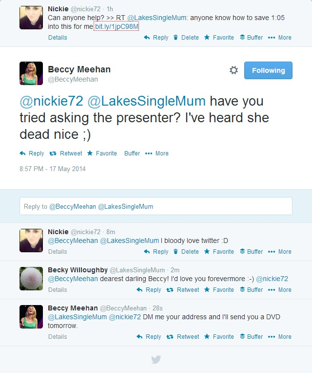 Twitter conversation with Beccy Meehan