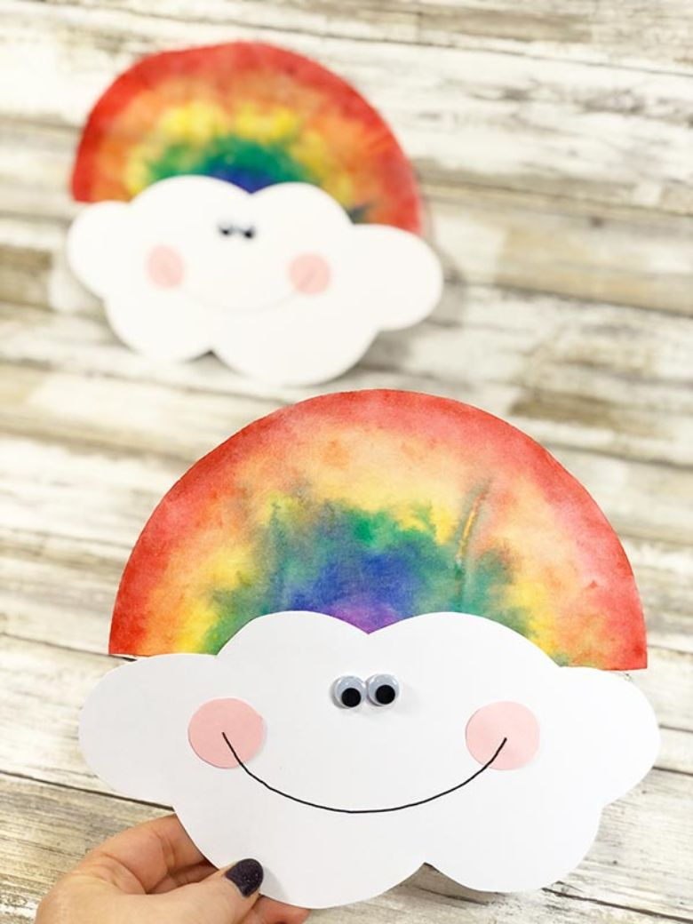 Spring crafts for kids - coffee filter rainbow craft